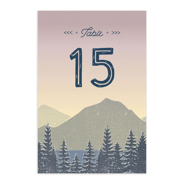 Vintage Mountain table number card front in pink