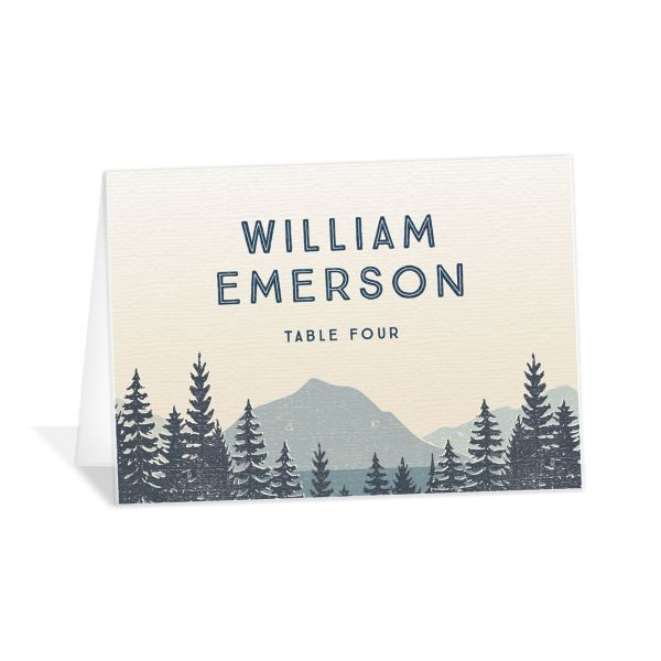 Vintage Mountain place card front in blue