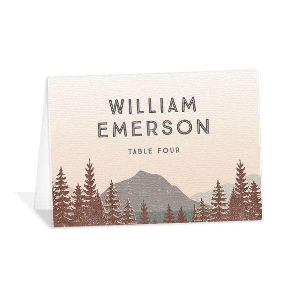 Vintage Mountain place card front in brown
