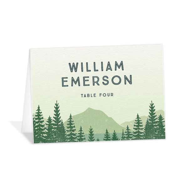 Vintage Mountain place card front in green