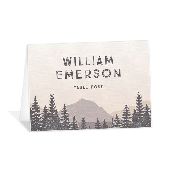 Vintage Mountain place card front in grey