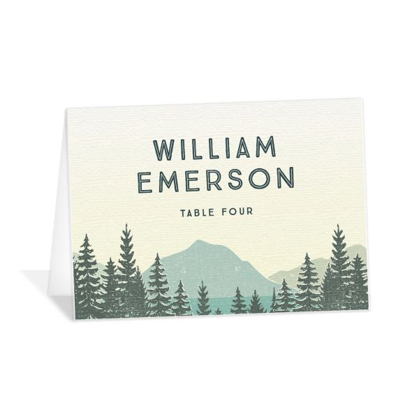 Vintage Mountain place card front in teal