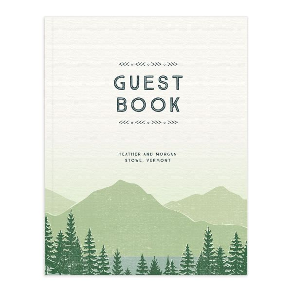 Vintage Mountain wedding guest book front in green
