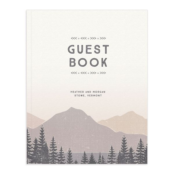 Vintage Mountain wedding guest book front in grey