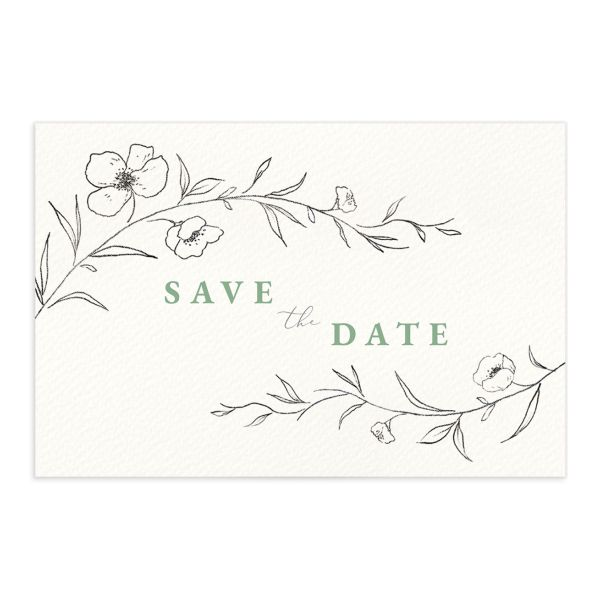 Graceful Botanical Save the Date Postcard front in green