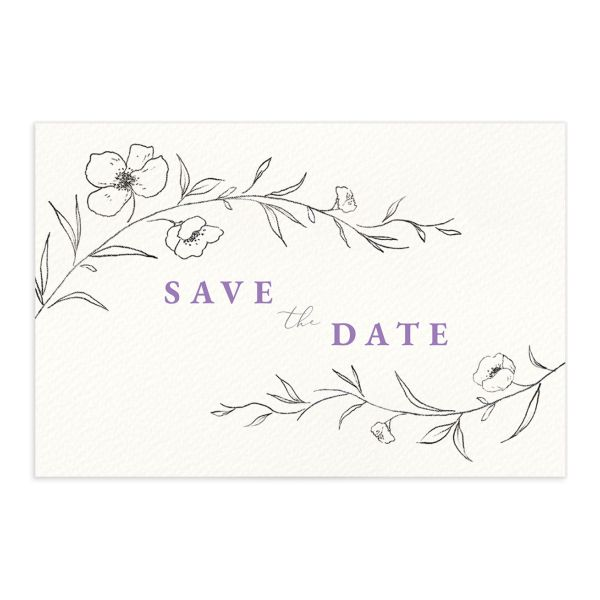 Graceful Botanical Save the Date Postcard front in lavender