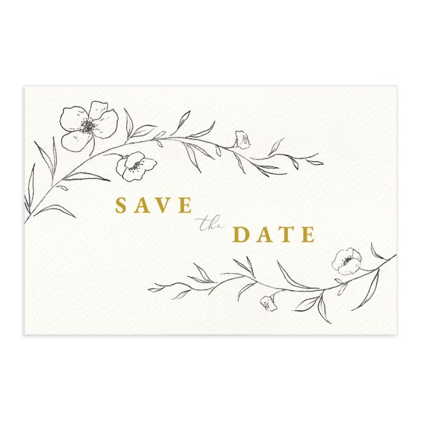 Graceful Botanical Save the Date Postcard front in yelllow