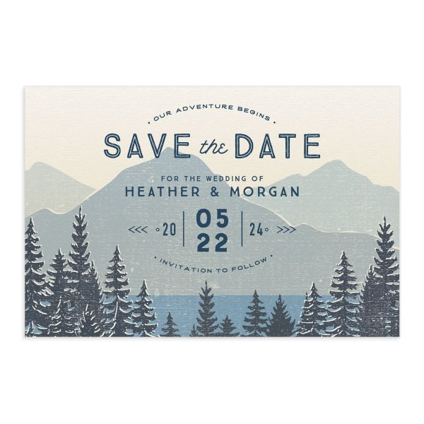Vintage Mountain save the date postcard front in blue