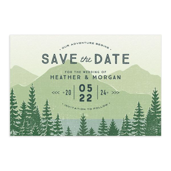 Vintage Mountain save the date postcard front in green