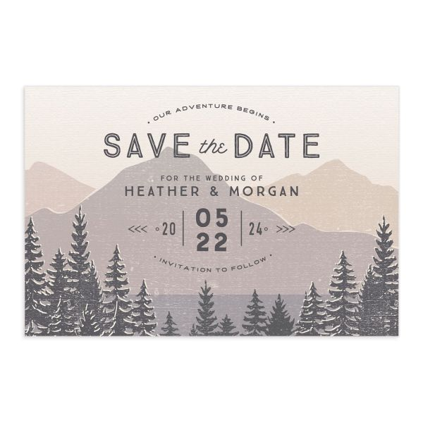 Vintage Mountain save the date postcard front in brown