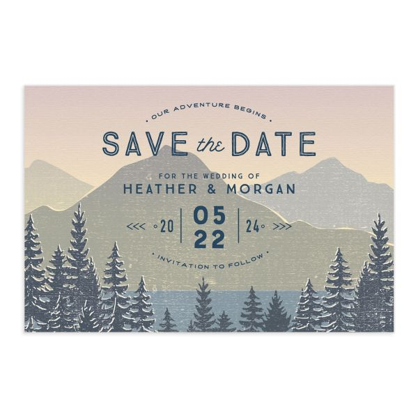 Vintage Mountain save the date postcard front in pink