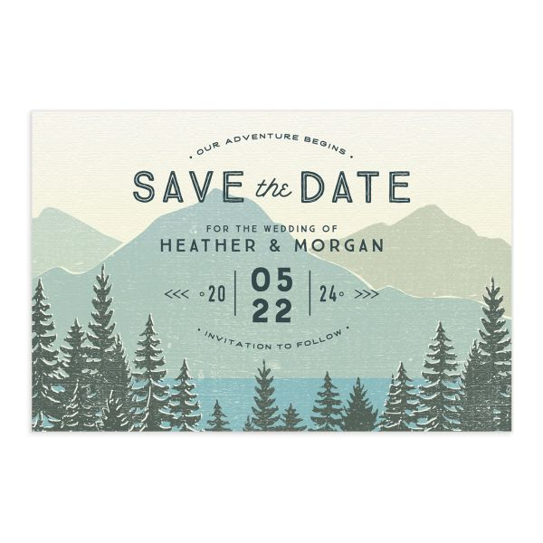 Vintage Mountain save the date postcard front in teal