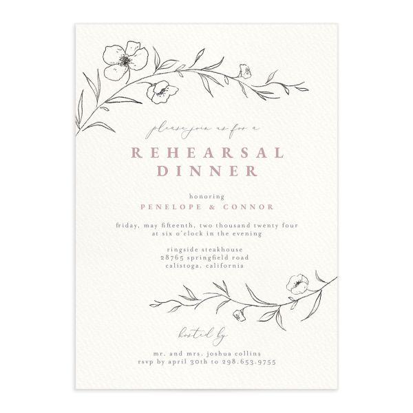 Graceful Botanical Rehearsal Dinner Invitations