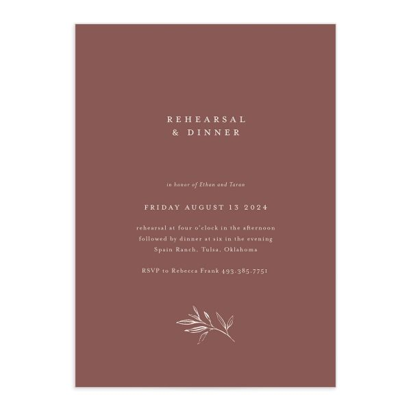 Minimal Leaves Rehearsal Dinner Invitation front closeup in burgundy