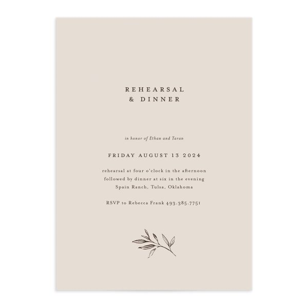Minimal Leaves Rehearsal Dinner Invitation front closeup in cream