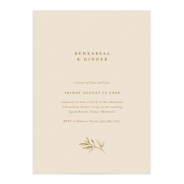 Minimal Leaves Rehearsal Dinner Invitation front closeup in gold