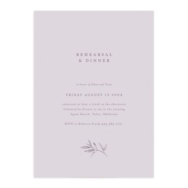 Minimal Leaves Rehearsal Dinner Invitation front closeup in lavender