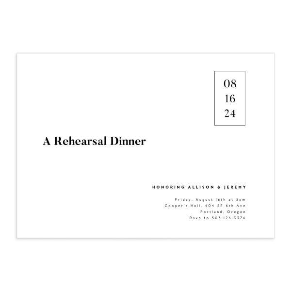 Minimal Photograph Rehearsal Dinner Invitations
