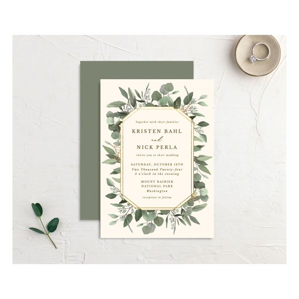 Eucalyptus Frame wedding invitation front and back in gold