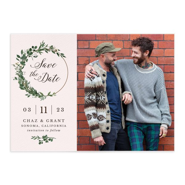 Greenery Hoop Save The Date Cards