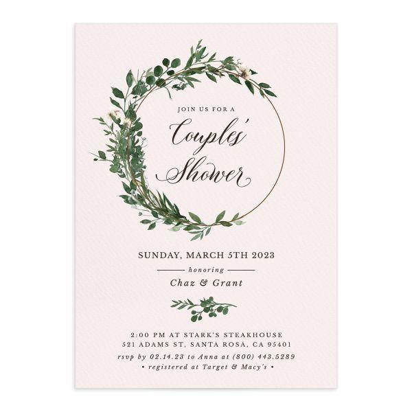 Leafy Hoops Bridal Shower Invitations